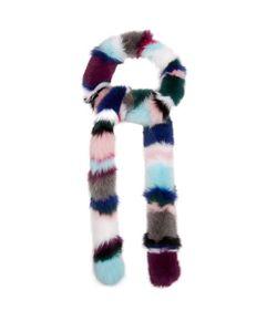 Charlotte Simone | Rainbow Twist Striped Fur Scarf