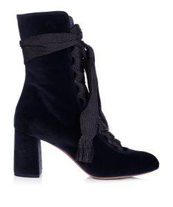Chloé | Harper Lace-Up Velvet Ankle Boots