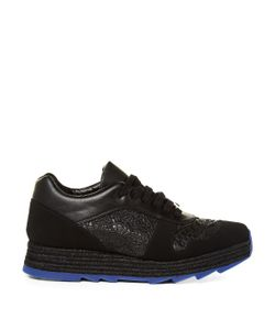 Stella McCartney | Macy Lace-Panel Faux-Leather Trainers