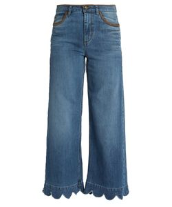 RED Valentino | Scallop-Edged High-Rise Cropped Jeans