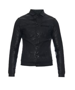 Longjourney | Leather And Coated-Jersey Biker Jacket