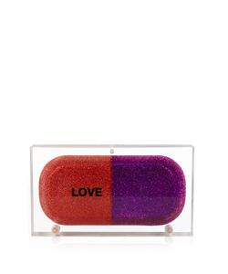 Sarah's Bag | Love Pill Glitter Perspex Clutch