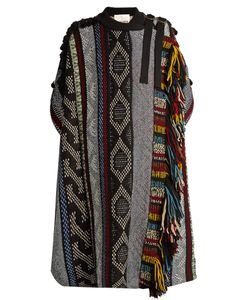 Chloé | Short-Sleeved Fringed Wool-Blend Cape