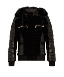 Balmain | Fur-Trim Quilted Velvet And Leather Bomber Jacket