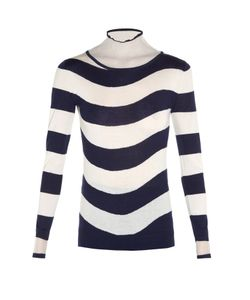 Fendi | Sheer Roll-Neck Striped Sweater