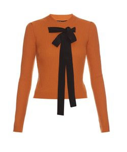 Rochas | Bow-Front Ribbed-Knit Sweater
