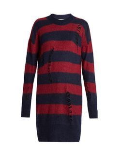 Stella McCartney | Distressed Striped Mohair And Wool-Blend Sweater