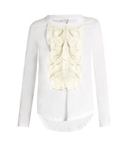 Chloé | Long-Sleeved Silk Ruffle-Trimmed Cotton T-Shirt