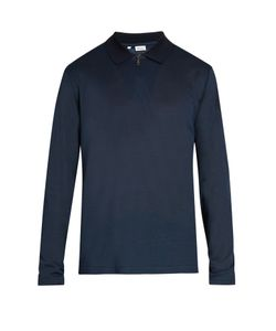 Brioni | Long-Sleeved Cotton And Silk-Blend Polo Shirt