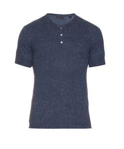 ATM | Short-Sleeved Knitted Henley Top