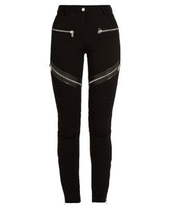 Givenchy | Zip And Leather-Trim Double-Knit Leggings