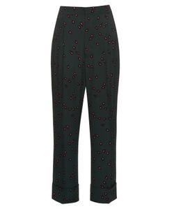 Marni | Windfall Teardrop-Print High-Waist Crepe Trousers