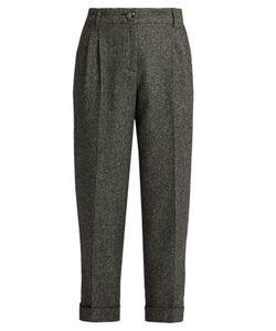 Dolce & Gabbana | High-Waisted Herringbone-Tweed Cropped Trousers