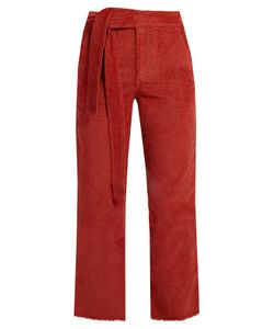 MASSCOB | Frayed-Hem Cropped Corduroy Trousers