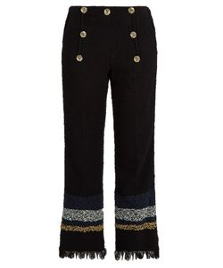 Sonia Rykiel | Frayed-Hem Cropped Tweed Trousers