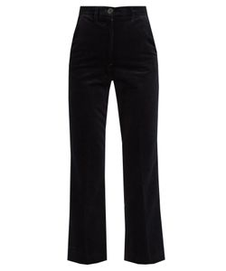 M.i.h Jeans | Coler High-Rise Cropped Velvet Flared Trousers