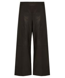 Adam Lippes | Cropped Wide-Leg Leather Trousers
