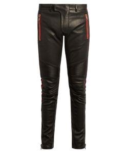Balmain | Biker Slim-Leg Leather Trousers