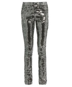 Saint Laurent | Sequin-Embellished Skinny Jeans