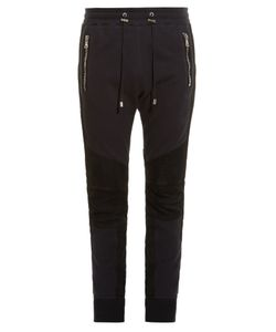 Balmain | Biker Ribbed-Panel Cotton And Suede Track Pants