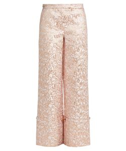 Osman | Leaf-Brocade Turn-Up Trousers