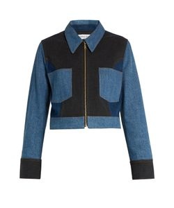 Sonia Rykiel | Point-Collar Patchwork Cotton-Blend Denim Jacket