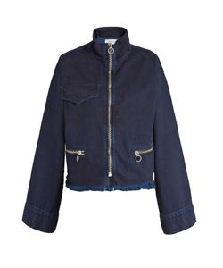 MARQUES'ALMEIDA | Frayed-Hem Bell-Sleeved Denim Jacket