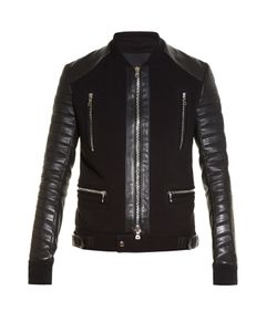 Balmain | Quilted Leather-Sleeved Biker Jacket