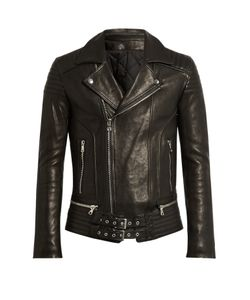 Balmain | Quilted-Panel Leather Biker Jacket