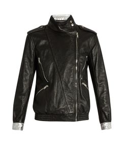 Saint Laurent | Contrast-Trim Leather Jacket