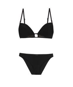 Zimmermann | Ticking Bonded Mesh-Panel Tulip-Cup Bikini
