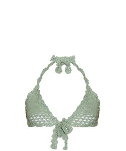 She Made Me | Hira Tie-Front Triangle Crochet Bikini Top