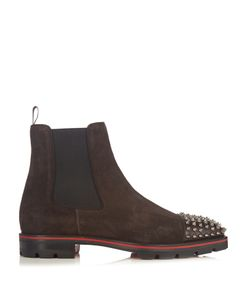CHRISTIAN LOUBOUTIN | Melon Spike-Embellished Suede Chelsea Boots