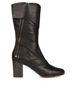 Chloé | Lexie Leather Block-Heel Boots