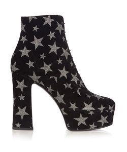 Saint Laurent | Candy Lace-Up Suede Platform Ankle Boots