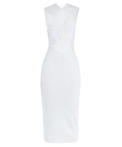 Balmain | Crossover Cutaway Stretch-Knit Midi Dress