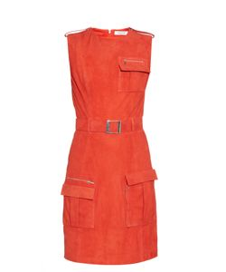 Mugler | Front-Pocket Belted Suede Dress