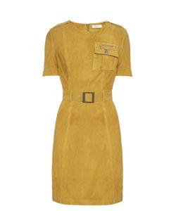 Mugler | Short-Sleeved Belted Suede Dress