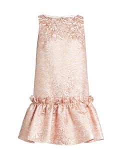 Osman | Semiha Ruffled-Hem Leaf-Brocade Dress