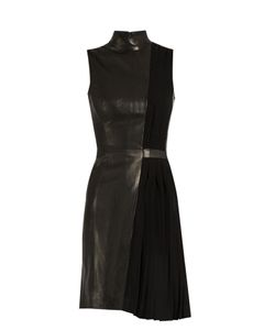 Mugler | High-Neck Leather And Pleated-Cady Dress
