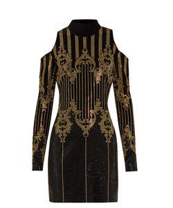 Balmain | High-Neck Embellished Velvet Dress