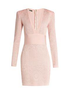 Balmain | V-Neck Lace-Knit Dress