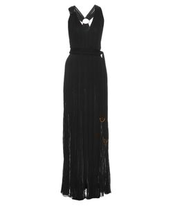 Roberto Cavalli   V-Neck Crinkle-Knit Gown