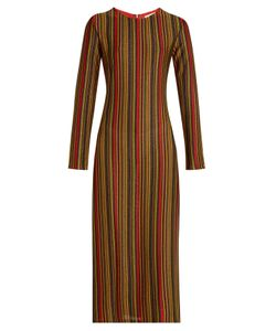Marco de Vincenzo | Metallic-Stripes Round-Neck Midi Dress