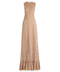 Ryan Roche | Ruffled-Hem Cashmere Crochet-Knit Maxi Dress