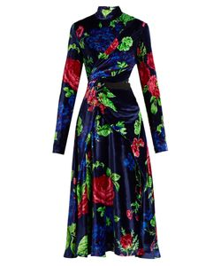 MSGM | High-Neck Floral-Print Velvet Dress