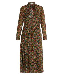 RED Valentino | Floral-Print Long-Sleeved Silk-Crépon Dress