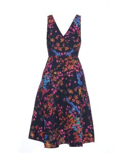 Saloni | Jess Floral-Print Textured-Crepe Dress