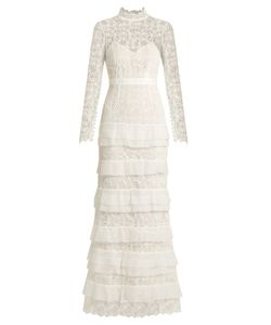 Self-Portrait | Primrose Tiered Crepon And Guipure-Lace Gown