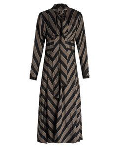 Marc Jacobs | Tie-Neck Striped Satin Midi Dress